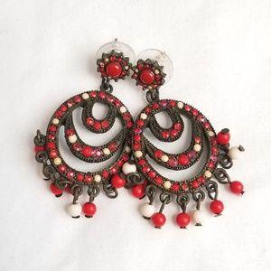 Red Anthropologie chandelier earrings vintage like